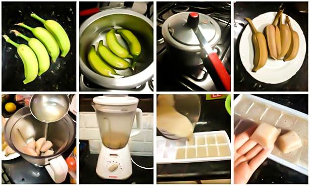 Biomassa de banana verde foto